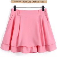 Pink A-Line Pleated Mini Skirt
