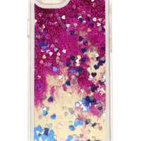 HEART GLITTER WATERFALL IPHONE CASE