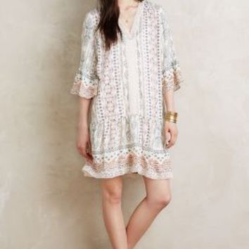 Hiche Sedona Peasant Dress in Neutral Motif Size: