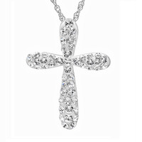 Sterling Silver White Crystal Cross Pendant-Necklace with Swarovski Elements