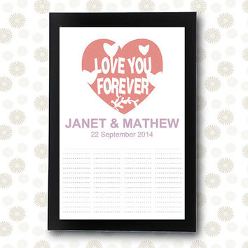 Wedding Guest Book INSTANT DOWNLOAD unique guestbook bridal shower Love You Forever / printable pdf / editable alternative ideas signature