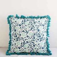 Plum & Bow Lala Kantha Pillow- Blue 18in. Sq