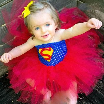 Super Hero Inspired Tutu Dress Halloween Birthday Party Costume Batman Superman Baby Girl Tutu Dress Photo Props TS045