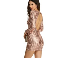 Rose Holiday Cheer Sequin Mesh Dress