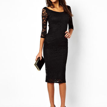 Black Lace and Mesh Sleeve Dress
