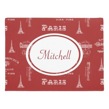 Paris Label French Red Personalized Doormat