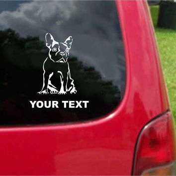French Bulldog Dog Sticker Decal with custom text 20 Colors To Choose From.