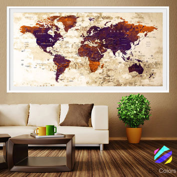 XL Poster Push Pin World Map travel Art Print Photo Paper watercolor Old Wall Decor Home  (frame is not included) (P17) FREE Shipping USA!!!