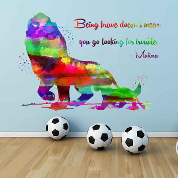 kcik2039 Full Color Wall decal Watercolor Character Disney Sticker Disney children's room The Lion King quote