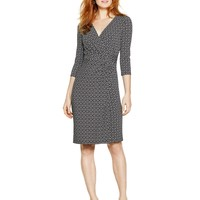 White House | Black Market 3/4 Sleeve Geometric Knit Wrap Dress
