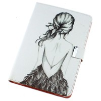 Flip Man Made Leather Sketch Figure Girl White Case Cover Stand Pouch for Apple Ipad Mini