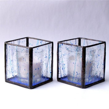 Stained Glass Votive Candle Holders - Pair - Blue Confetti Stained Glass