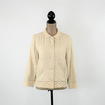 Beige Jacket Women Small Quilted Jacket Crochet Lace Collar Cotton Rayon Boho Jacket Boxy Jacket J Jill Vintage Clothing Womens Clothing