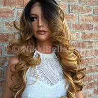"Honey Syrup Bayalage Volume Curls Multi Parting Human Hair Blend Lace Wig 24"" Hot Rollers"