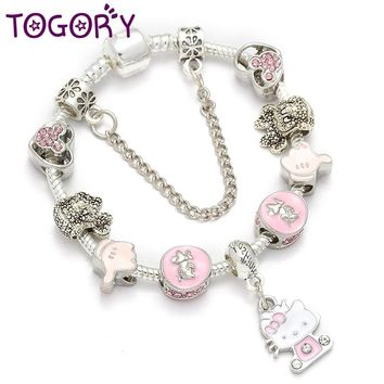 TOGORY Dropshipping Pink Lovely Kitty Cat Pendant Beads Charm Bracelet For Women Cartoon Mickey Pandora Bracelet Children Girls