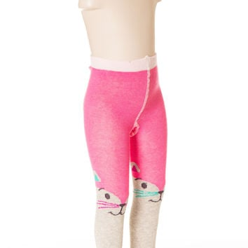 Deux Par Deux Girls Patte De Velours Knit Tights with Eyes Size 4-7 Yrs Gray Pink