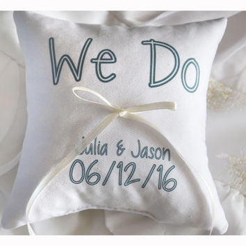We Do Ring bearer pillow, Wedding ring pillow , wedding pillow ,personalized ring pillow, ring bearer pillow (R9)