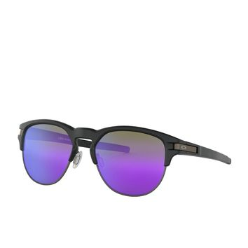 Oakley Latch Key Unisex Sunglasses - Matte Black ~ Violet Iridium One Size