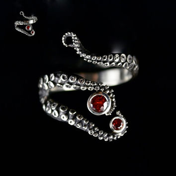 Tentacle Ring Octopus Ring Seductive Tentacle Ring in ancient silver Plating red Rhinestone by Octopus hand rings for women
