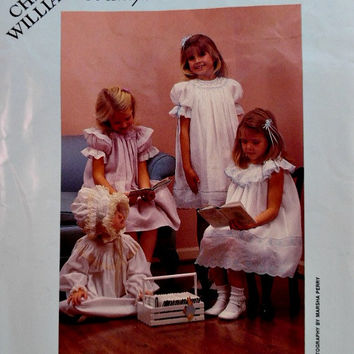 Children's Heirloom Dress Pattern Smocked Bishops Bonnets Chery Williams 80's Vintage Sewing Patterns Uncut Size 6 Months to 3 Years