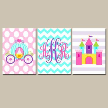 PRINCESS Wall Art, Monogram CANVAS or Prints, Princess Castle Decor, Princess Monogram Decor, Princess Wall Decor, Princess Nursery Set of 3