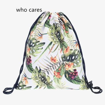 Hot Sale Classic 3D Printing Backpack Women Tropical Flower Drawstring Bag Daily Casual Mochila Feminina Girl