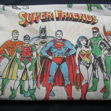 Vintage Super Friend Super Villian Batman Wonder Woman Superman Penguin Hero Bedding Flat Sheet Twin Size Craft Fabric 1976 Used Clean RARE