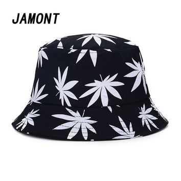 Leaves Print Bucket Hat Hip Hop Fisherman Cap Men Women Panama Hat Summer Sun Bucket Hats For Women Beach Cap Bob