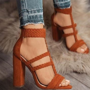 HiHopGirls Size 42 Gladiator High Heels Women Sandals Sexy Braided Foot Ring Ankle Strap Rome Open Toe Shoes Thick Block Heel
