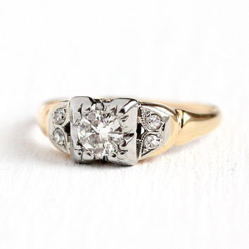 Vintage Engagement Ring - 14k Yellow & White Gold .35 CTW Diamond Wedding Ring - 1940s Size 5 Two Tone Fine 40s Leaf Motif Jewelry