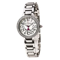 Betsey Johnson BJ00235-04 Women's Crystal Bezel White Dial Steel Bracelet Watch