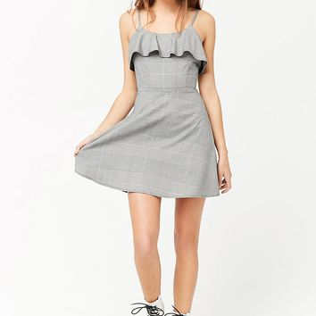 Glen Plaid Flounce Skater Dress