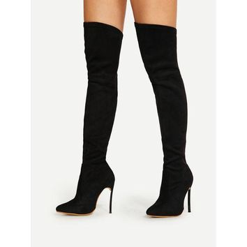 DCCK8JO Pointed Toe Stiletto Heeled Thigh High Boots