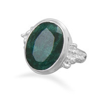 Large Oval Rough-Cut Emerald Ring