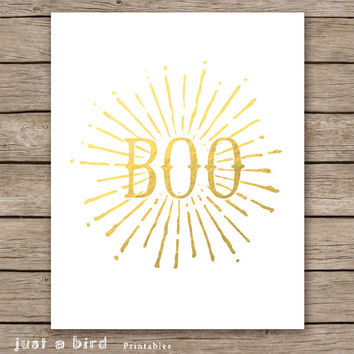 Halloween sign, gold foil halloween decoration, gold Halloween Print, BOO print, Halloween decor, modern halloween,INSTANT DOWNLOAD