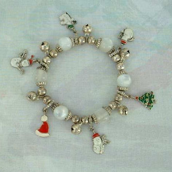 Christmas Holiday Bracelet Glass Moonstones Charms Trees Snowmen