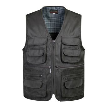 Classic Men Vest With Many Pockets For Summer Male Casual Mesh Photographer Work Sleeveless Waistcoat Mens Multi Pocket Jacket