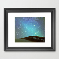 Photograph Print Starry Night Sky Bridge Nightime Stars Over Water Blue Teal Dreamy Fantasy Photo Picture Home Wall Office Decor