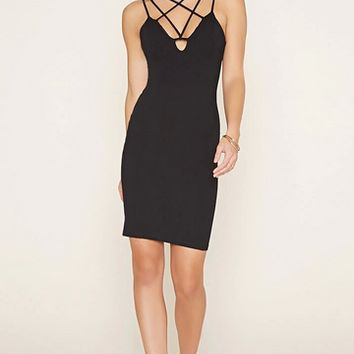 Black Criss Cross Bodycon Prom Party Cocktail Dress B008042