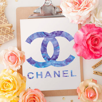 Chanel print A4 in purple, water color 8.5 X 11 inches instant digital download coco chanel, fashion art prints, watercolour art print