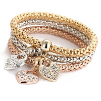 Gift New Arrival Great Deal Hot Sale Shiny Awesome Stylish Accessory Alloy 3-color Set Stretch Chain Diamonds Pendant Bracelet [6368950084]