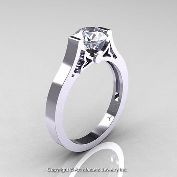 Modern 14K White Gold Luxurious and Simple Engagement Ring or Wedding Ring with a 1.0 Ct White Sapphire Center Stone R668-14KWGWS