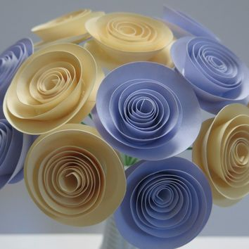 """one dozen ivory & lilac paper flowers on stems 12 purple and cream rolled 1.5"""" paper roses Cardstock roses Lavender purple"""