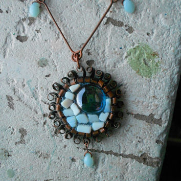 Upcycled Vintage Long Necklace with Moonstones, Blue Opalites, handmade Glass and Copper ! ~Milky Moon~ Necklace ! Milky & light blue tones!