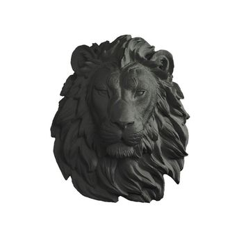 The Saharan | Large Lion Head | Faux Taxidermy | Black Resin