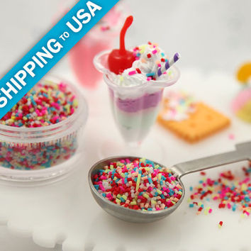 2mm Tiny Fake Sprinkles Colorful Faux Chocolate Topping Candy Flakes Polymer Clay or Fimo Cabochons - Approx. 6g bag