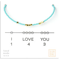 Friendship Bracelet - I Love You 143 - Aqua