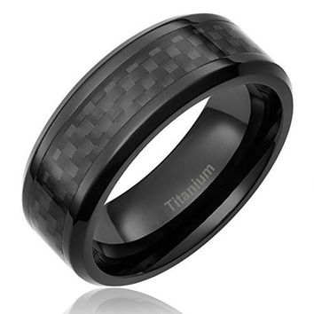 8MM Titanium Ring Wedding Band Black Plated with Black Carbon Fiber Inlay | FREE ENGRAVING