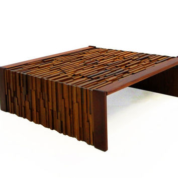 FREE SHIPPING - Large Modern Brutalist Coffee Table by Percival Lafer in Teak and Rosewood