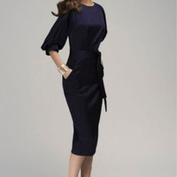 Lantern Sleeve Chiffon Midi Dress